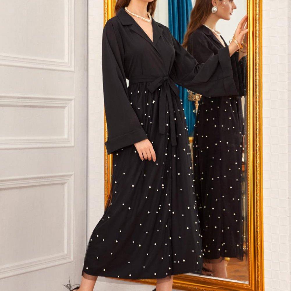 Manteau long ceinturé avec tulle et perles - SHEIN - Modalova