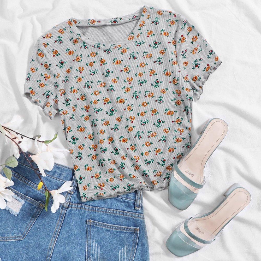 T-shirt fleuri - SHEIN - Modalova