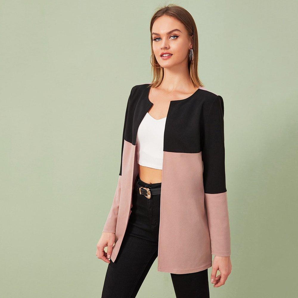 Manteau bicolore - SHEIN - Modalova