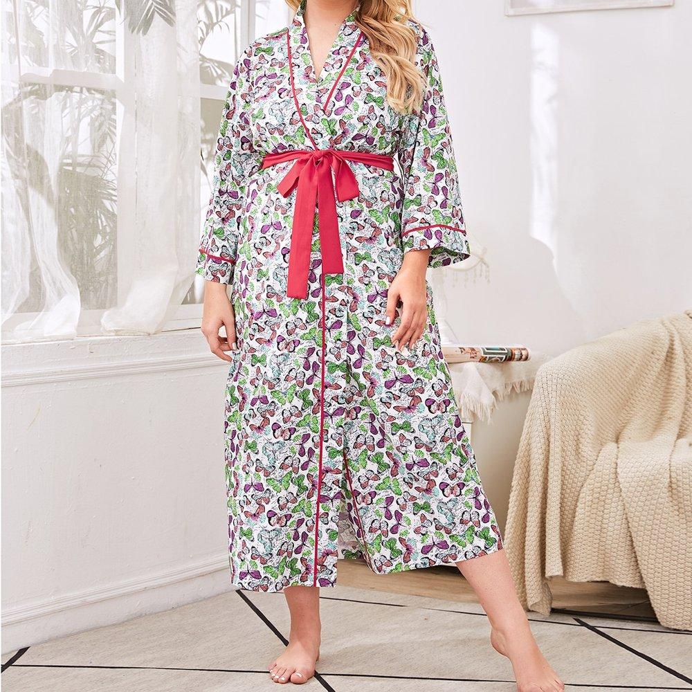 Robe de chambre ceinturée à imprimé papillon - SHEIN - Modalova
