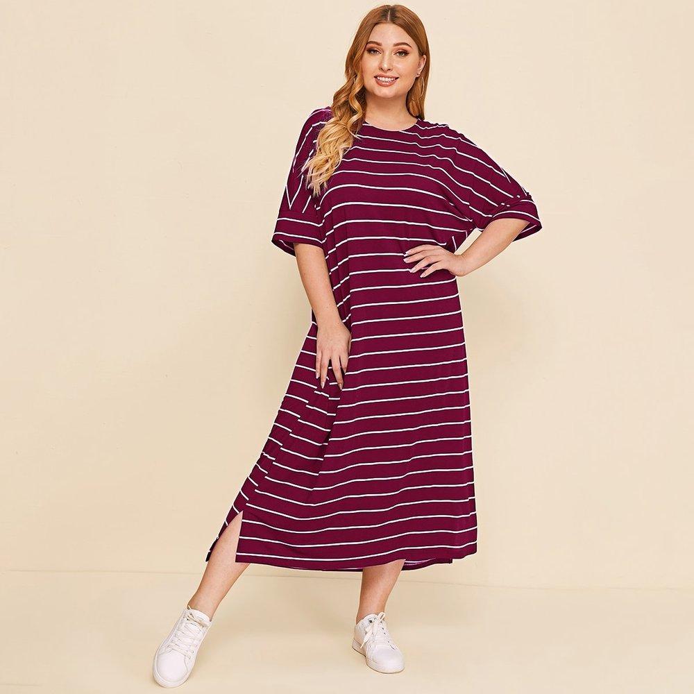 Robe t-shirt rayée fendue - SHEIN - Modalova