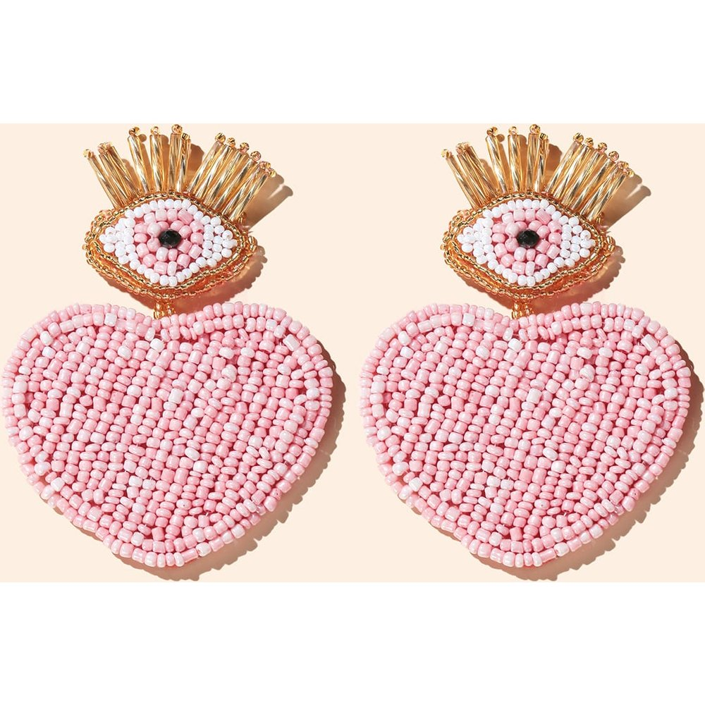 Boucles d'oreilles éblouissantes perlées design cœur - SHEIN - Modalova