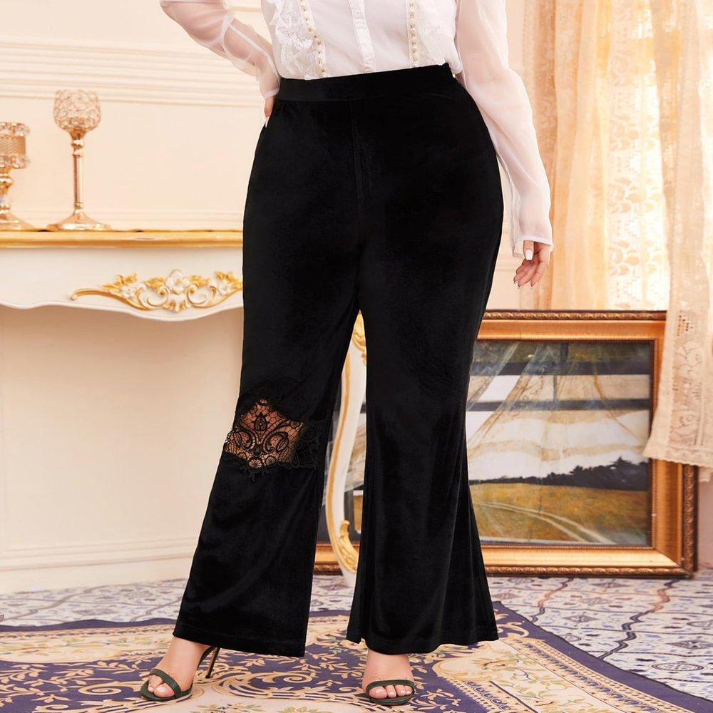 Pantalon ample en velours avec dentelle - SHEIN - Modalova