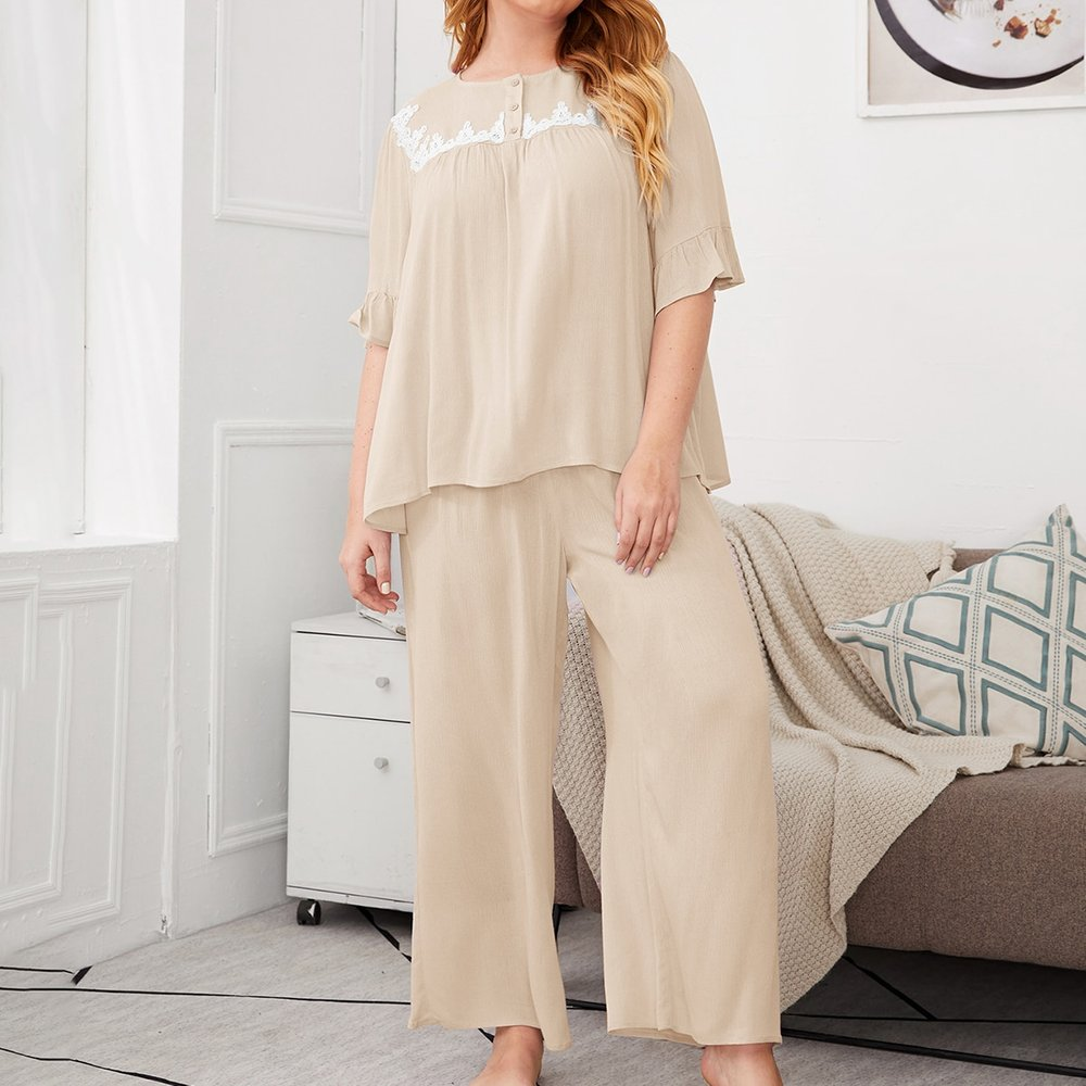 Ensemble de pyjama top avec dentelle & pantalon palazzo - SHEIN - Modalova