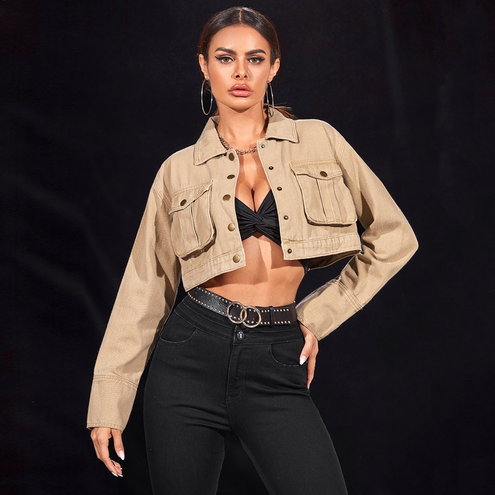 Veste en jean avec poches et boutons - SHEIN - Modalova
