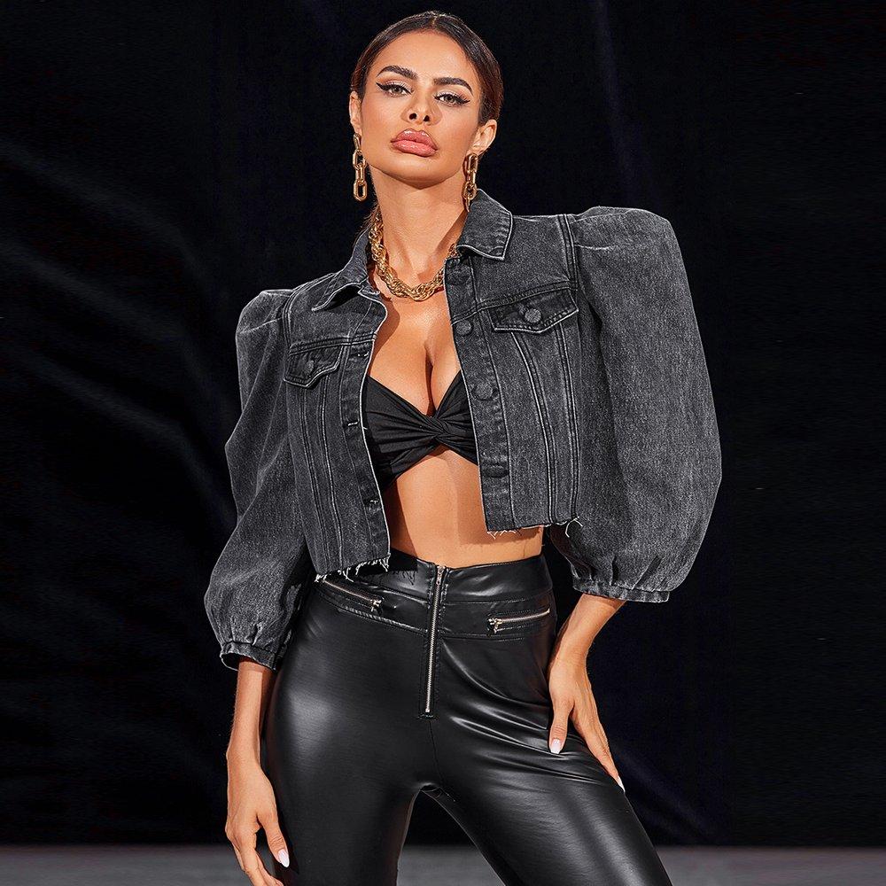 Veste en jean courte effilochée - SHEIN - Modalova
