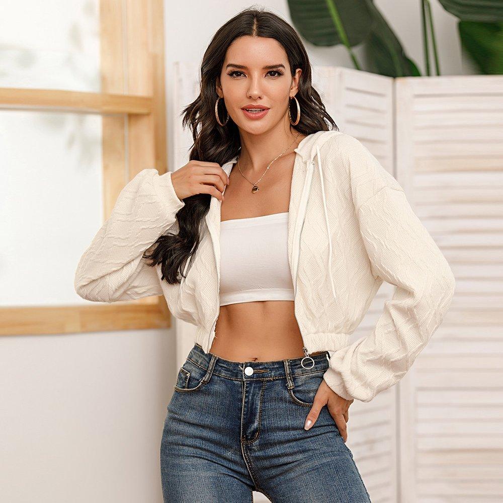 Veste à capuche courte unicolore avec zip - SHEIN - Modalova