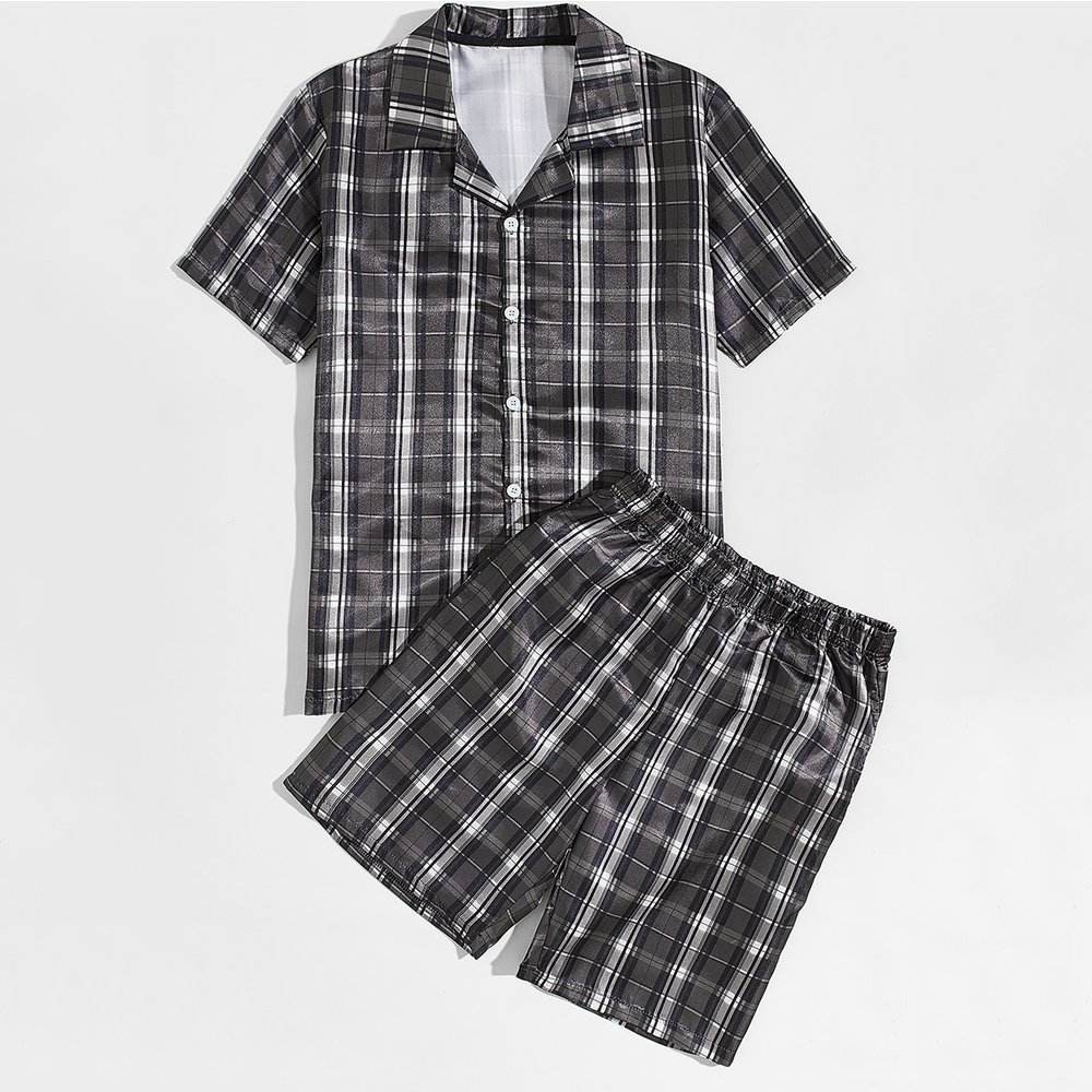 Ensemble de pyjama à carreaux - SHEIN - Modalova