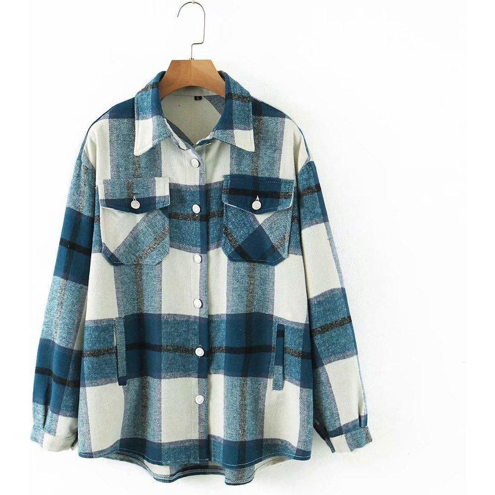 Manteau à carreaux avec poches - SHEIN - Modalova