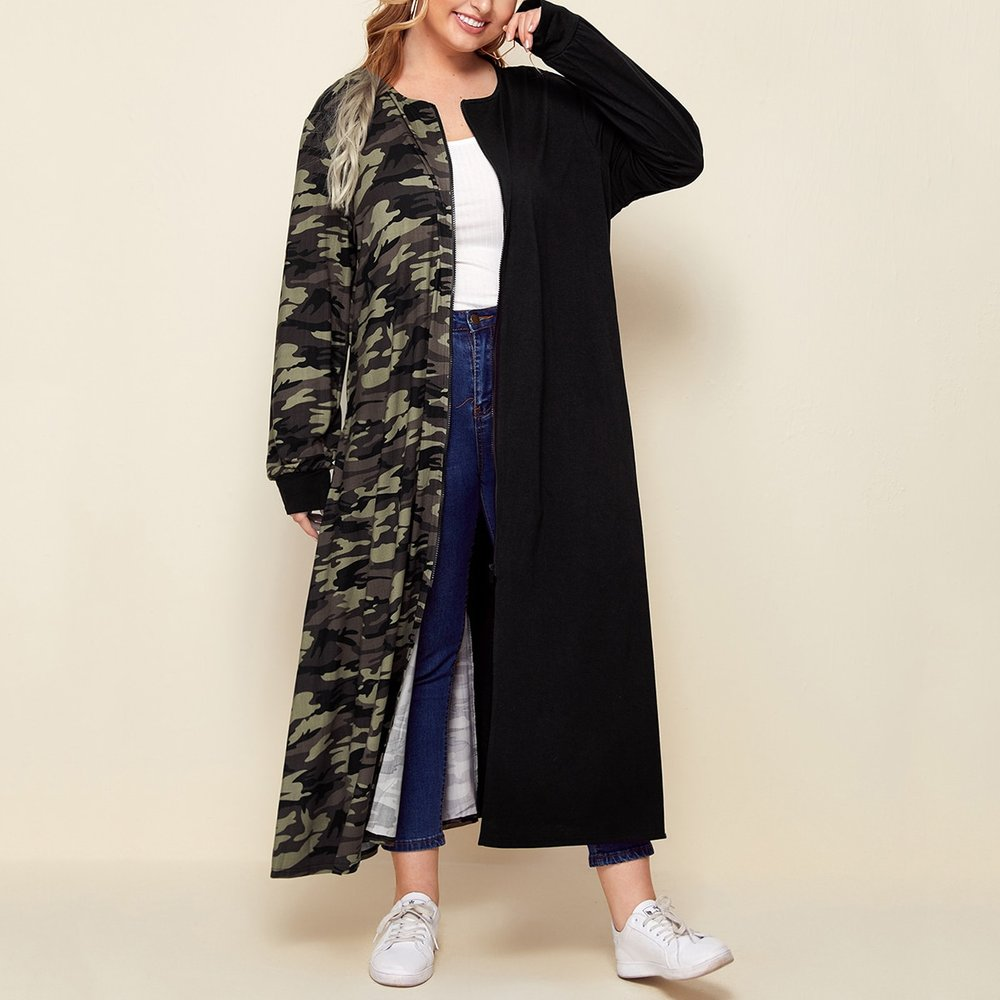 Manteau long zippé à motif camouflage - SHEIN - Modalova