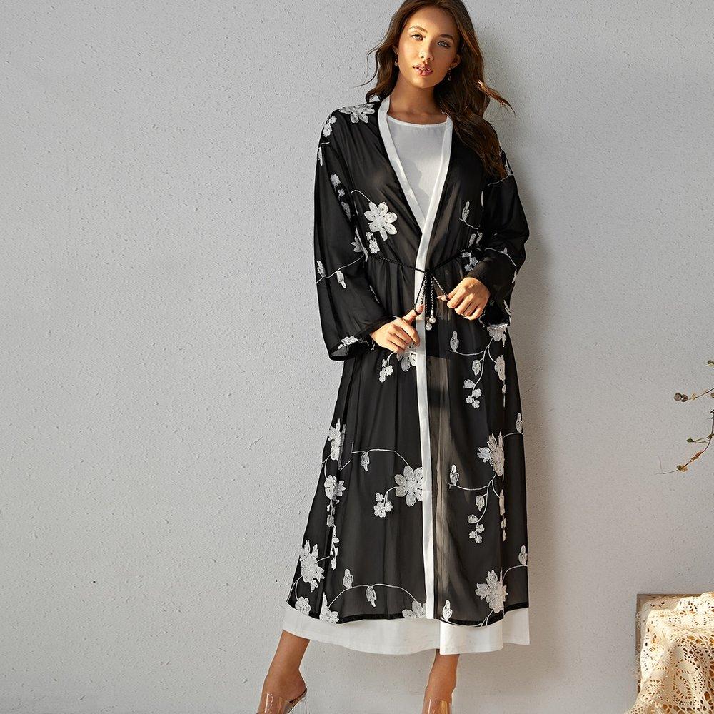 Manteau transparent long avec ceinture et broderie florale - SHEIN - Modalova