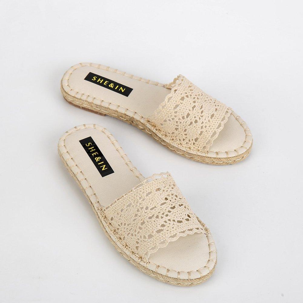 Sandales espadrilles avec dentelle - SHEIN - Modalova