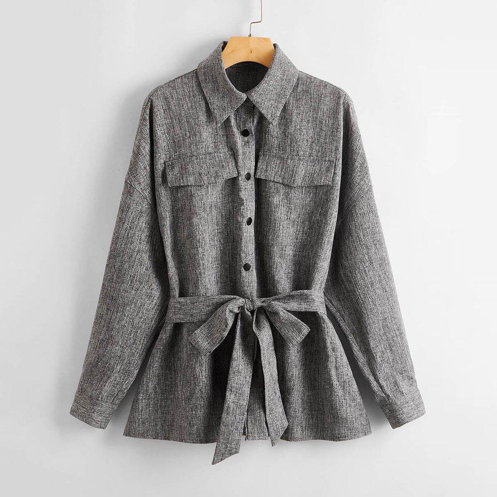 Manteau effet lin avec poches et ceinture - SHEIN - Modalova