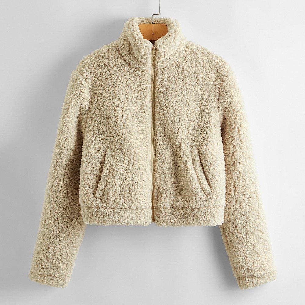 Veste zippée avec imitation peau de mouton et poche - SHEIN - Modalova