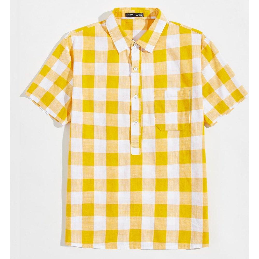 Chemise à carreaux avec poche - SHEIN - Modalova