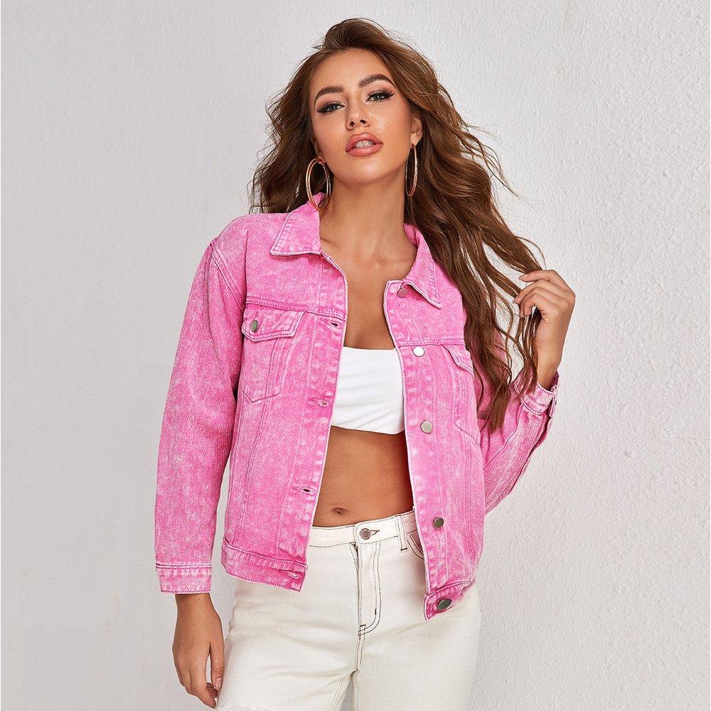 Veste en jean tie dye avec boutons - SHEIN - Modalova