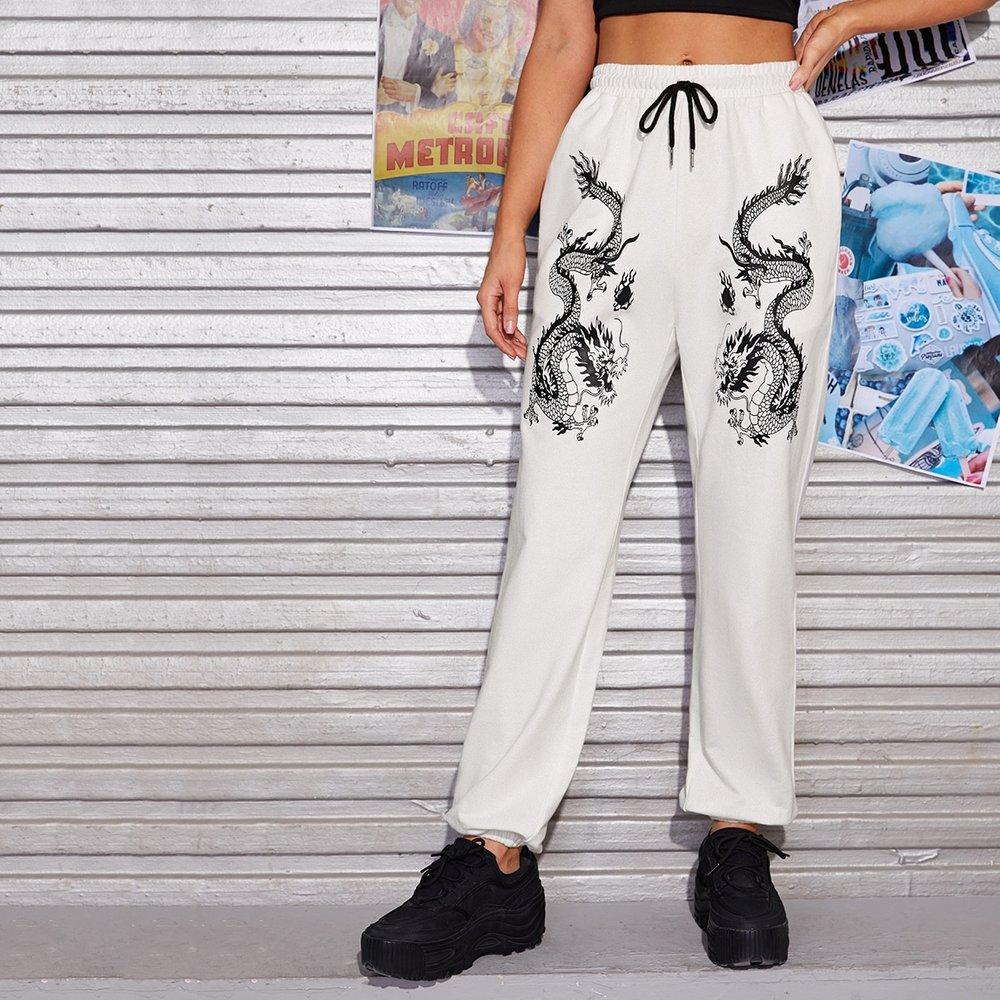 Pantalon de survêtement à imprimé dragon avec cordon - SHEIN - Modalova