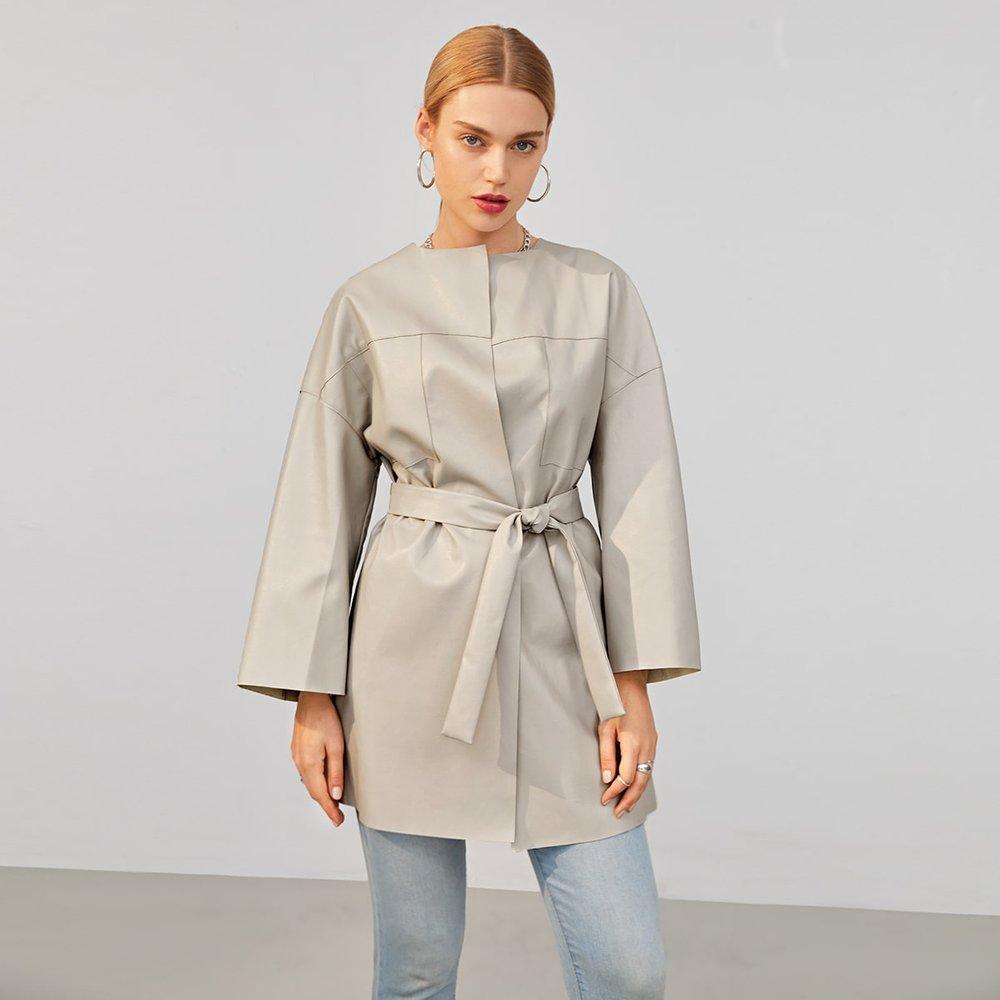 Manteau en cuir PU ceinturé - SHEIN - Modalova