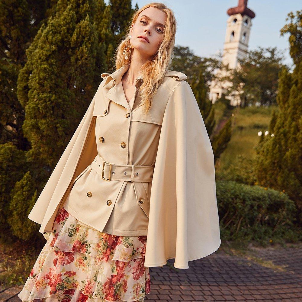 Manteau cape ceinturé avec boutons - SHEIN - Modalova