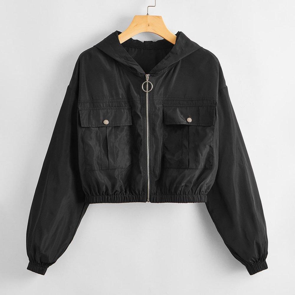 Veste à capuche zippée avec poche - SHEIN - Modalova