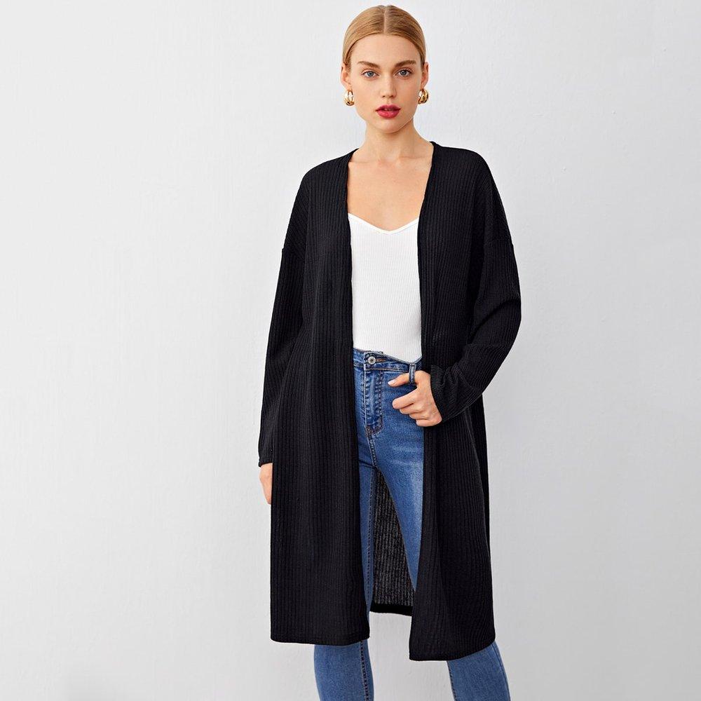 Manteau mi-long côtelé à ourlet fendu - SHEIN - Modalova