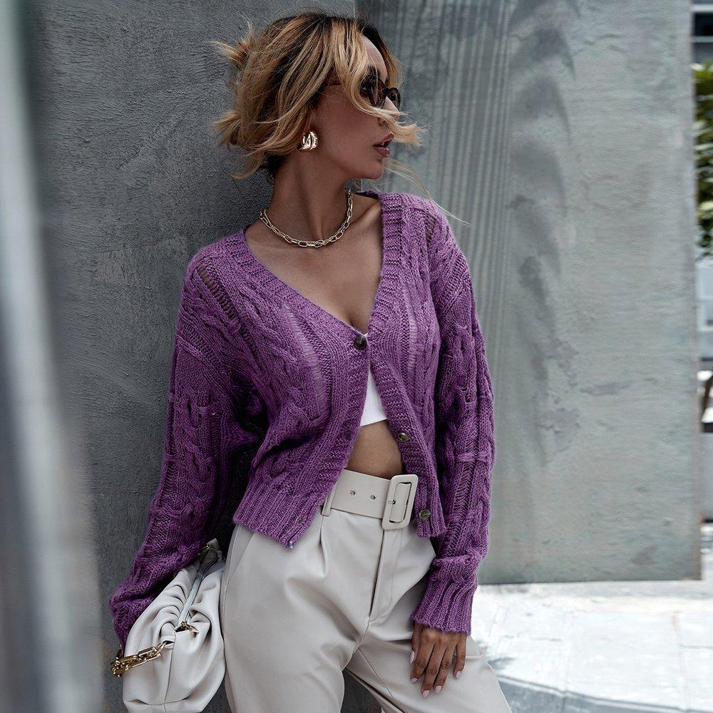 Gilet en tricot torsadé avec boutons - SHEIN - Modalova