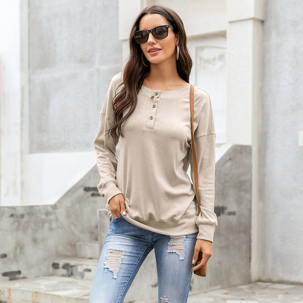Sweat-shirt avec boutons - SHEIN - Modalova