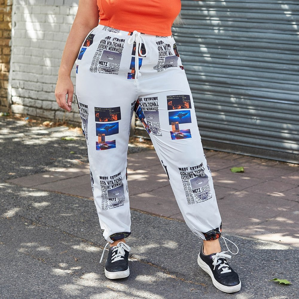 Pantalon de survêtement coupe-vent à imprimé - SHEIN - Modalova