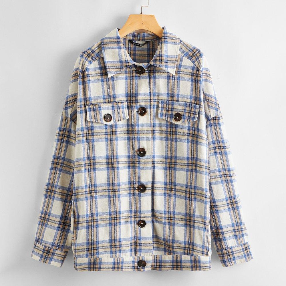 Manteau en tartan - SHEIN - Modalova