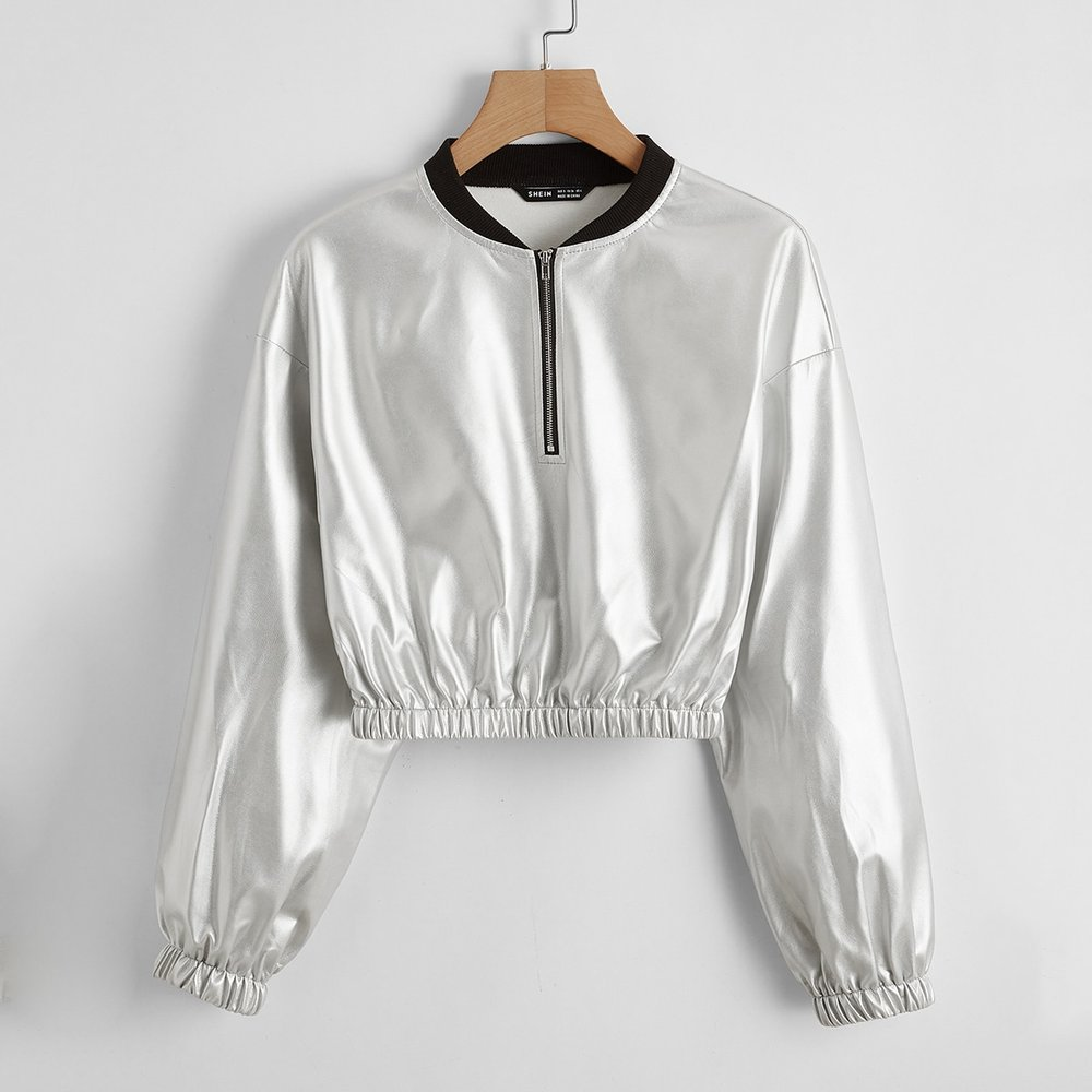 Veste métallique zippée - SHEIN - Modalova