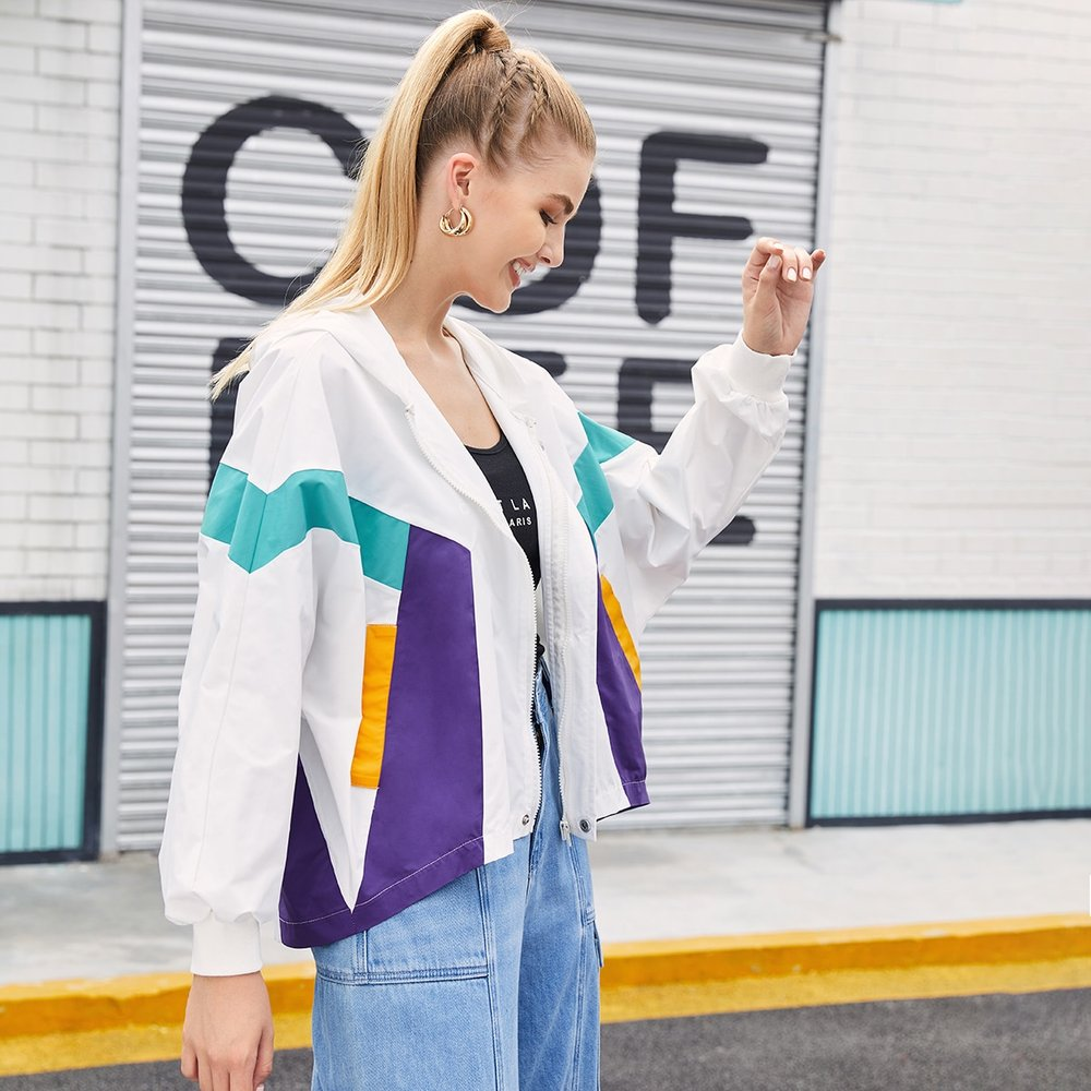Veste coupe-vent zippée avec blocs de couleur - SHEIN - Modalova