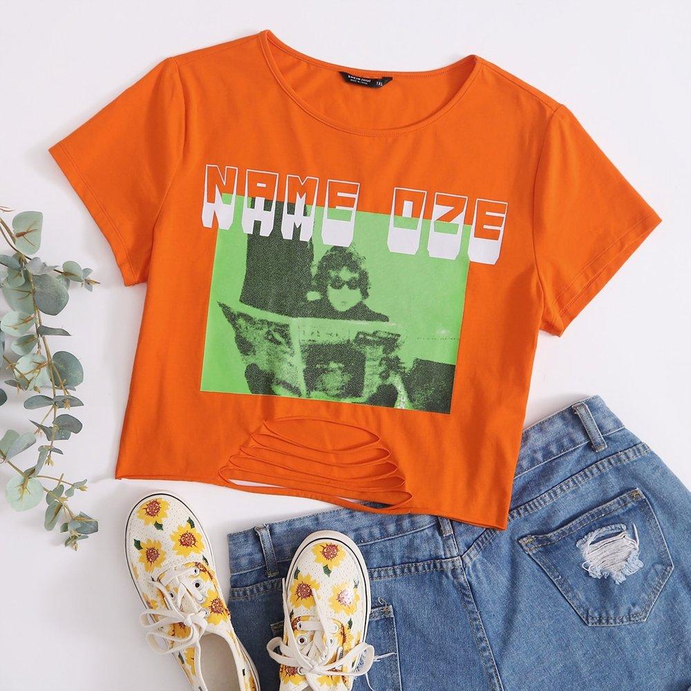 T-shirt à motif lettre - SHEIN - Modalova