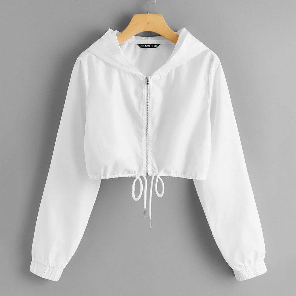 Veste à capuche zippée avec cordon - SHEIN - Modalova