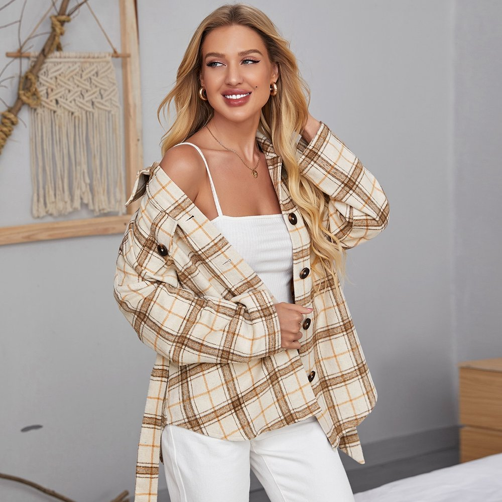 Manteau en tartan ceinturé - SHEIN - Modalova