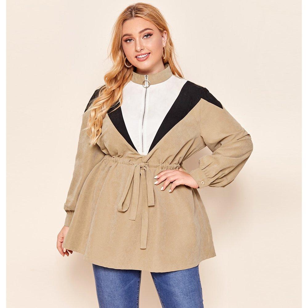 Veste zippée avec blocs de couleurs et cordon - SHEIN - Modalova