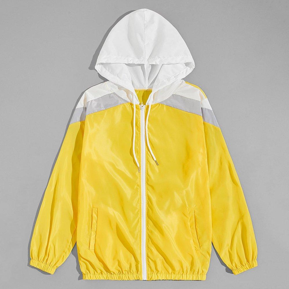 Veste à capuche avec cordon et blocs de couleurs - SHEIN - Modalova