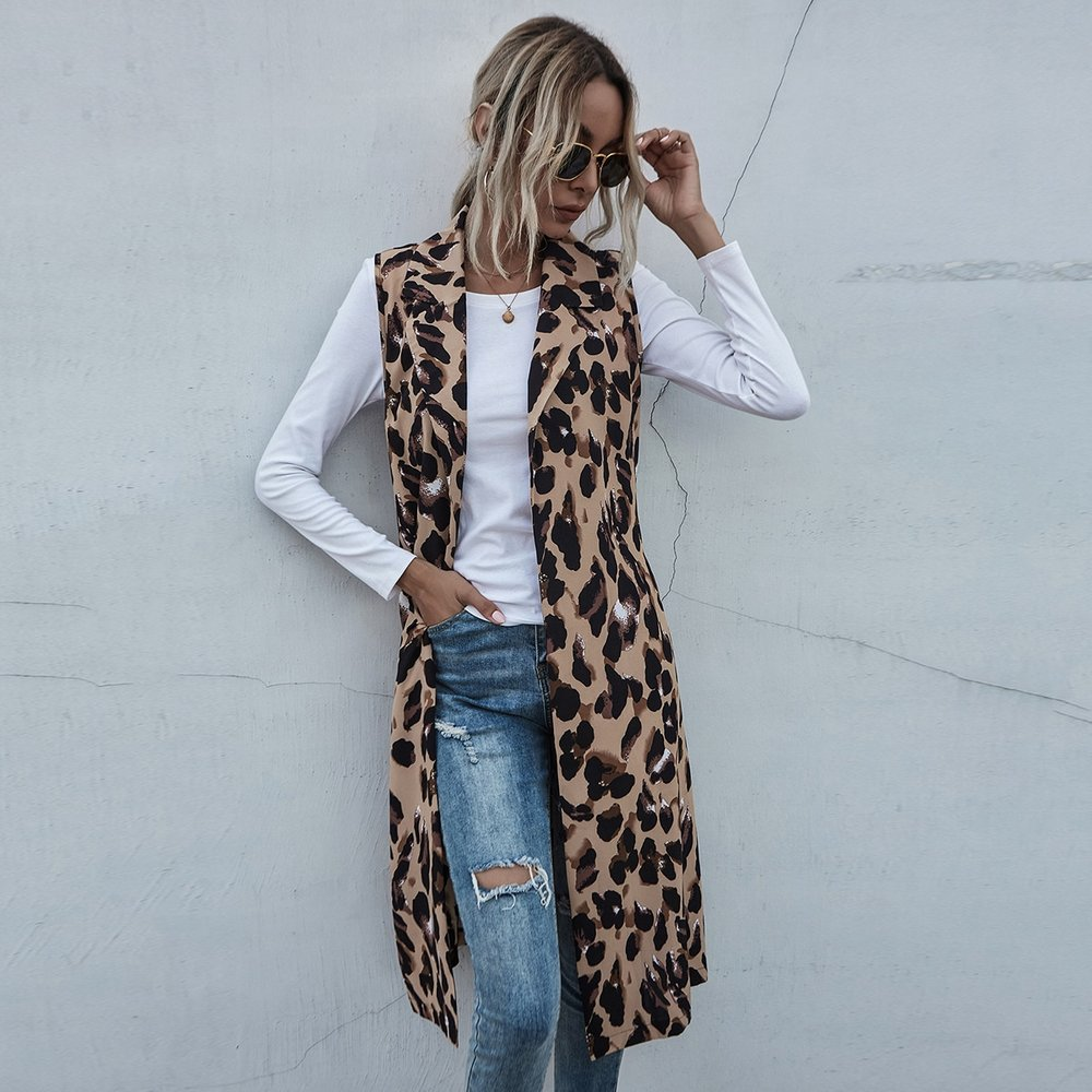 Manteau sans manches léopard - SHEIN - Modalova