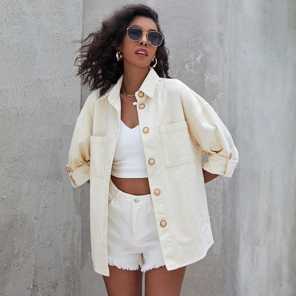 Veste en jean à boutons - SHEIN - Modalova