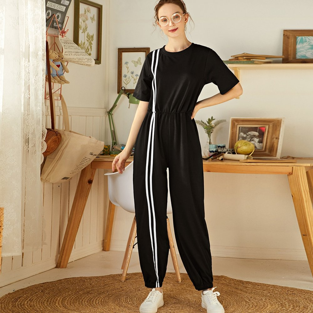 Combinaison t-shirt avec rayures - SHEIN - Modalova