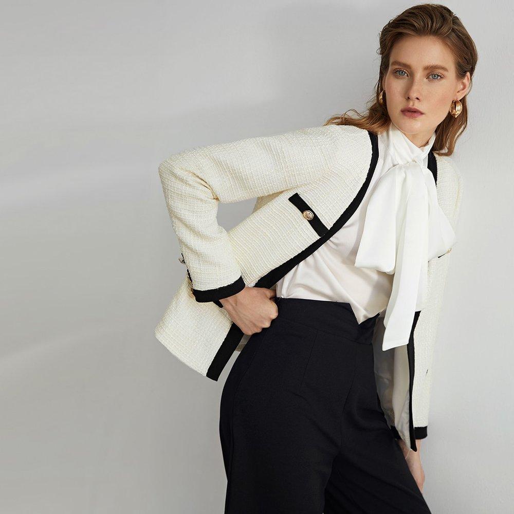 Veste en tweed avec boutons - SHEIN - Modalova