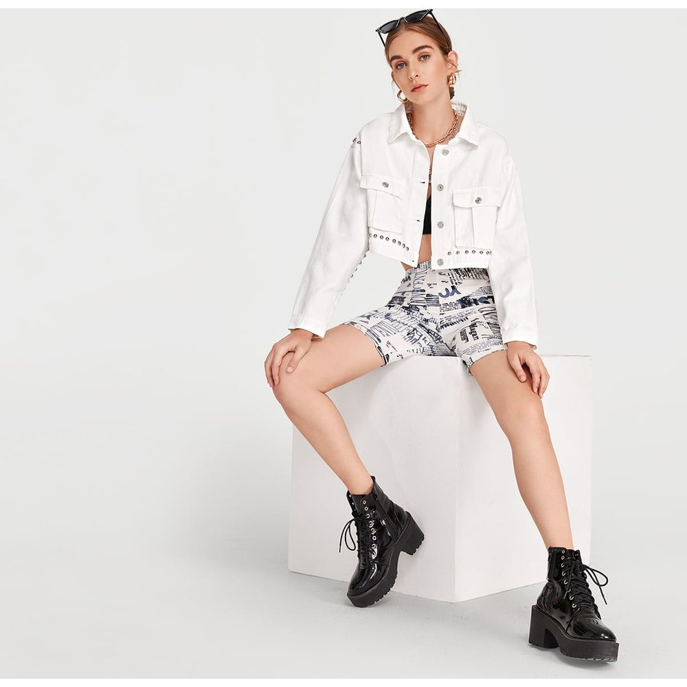 Veste en jean courte cloutée - SHEIN - Modalova