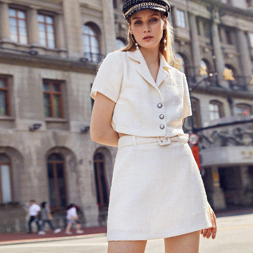 Ensemble veste en tweed avec boutons et jupe avec ceinture - SHEIN - Modalova