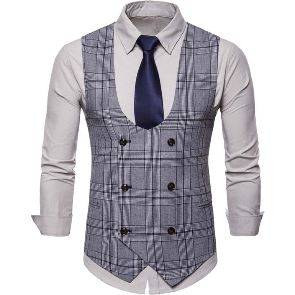 Blazer sans manches à carreaux (sans cravate) & Chemise - SHEIN - Modalova
