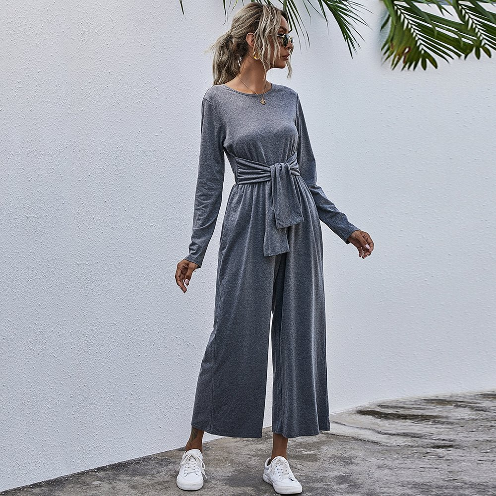 Combinaison t-shirt ample avec nœud - SHEIN - Modalova