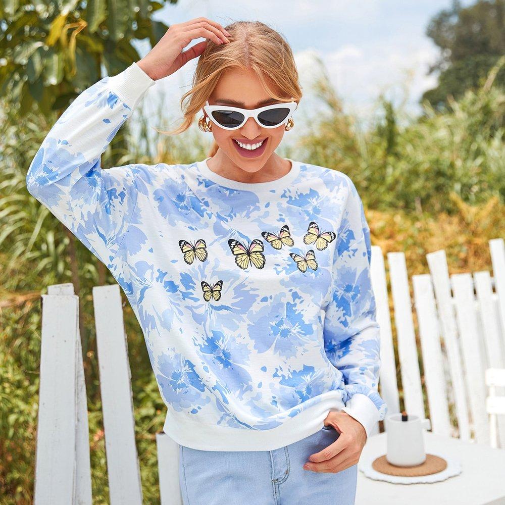 Sweat-shirt fleuri à imprimé papillon - SHEIN - Modalova