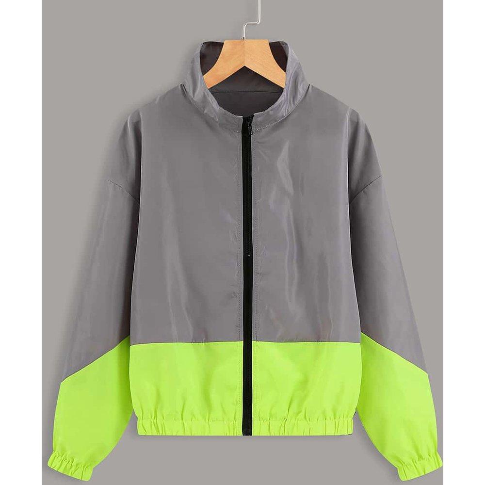 Veste zippée bicolore - SHEIN - Modalova