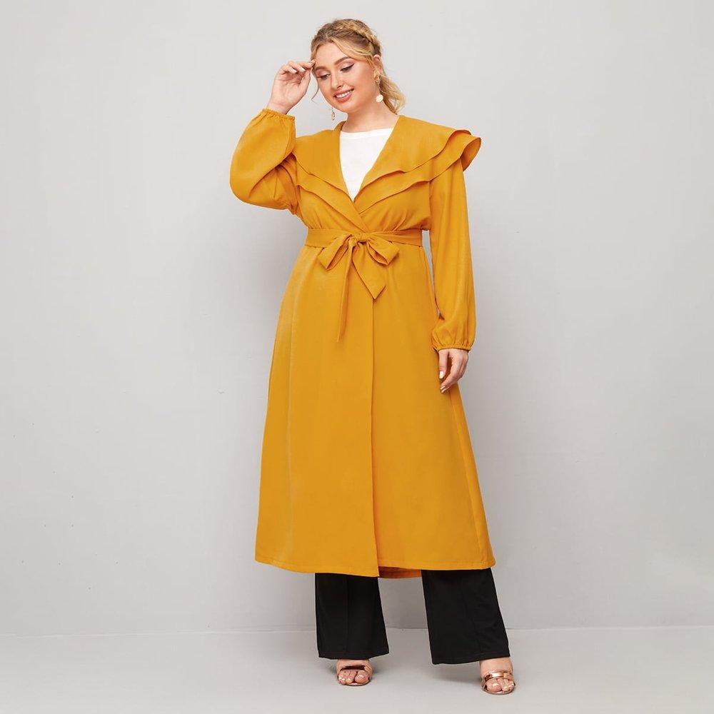 Manteau long unicolore avec ceinture - SHEIN - Modalova