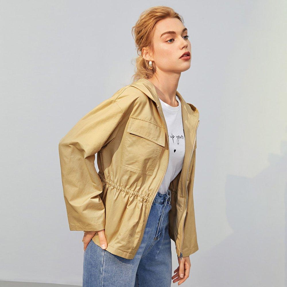 Veste à capuche zippée avec poches - SHEIN - Modalova