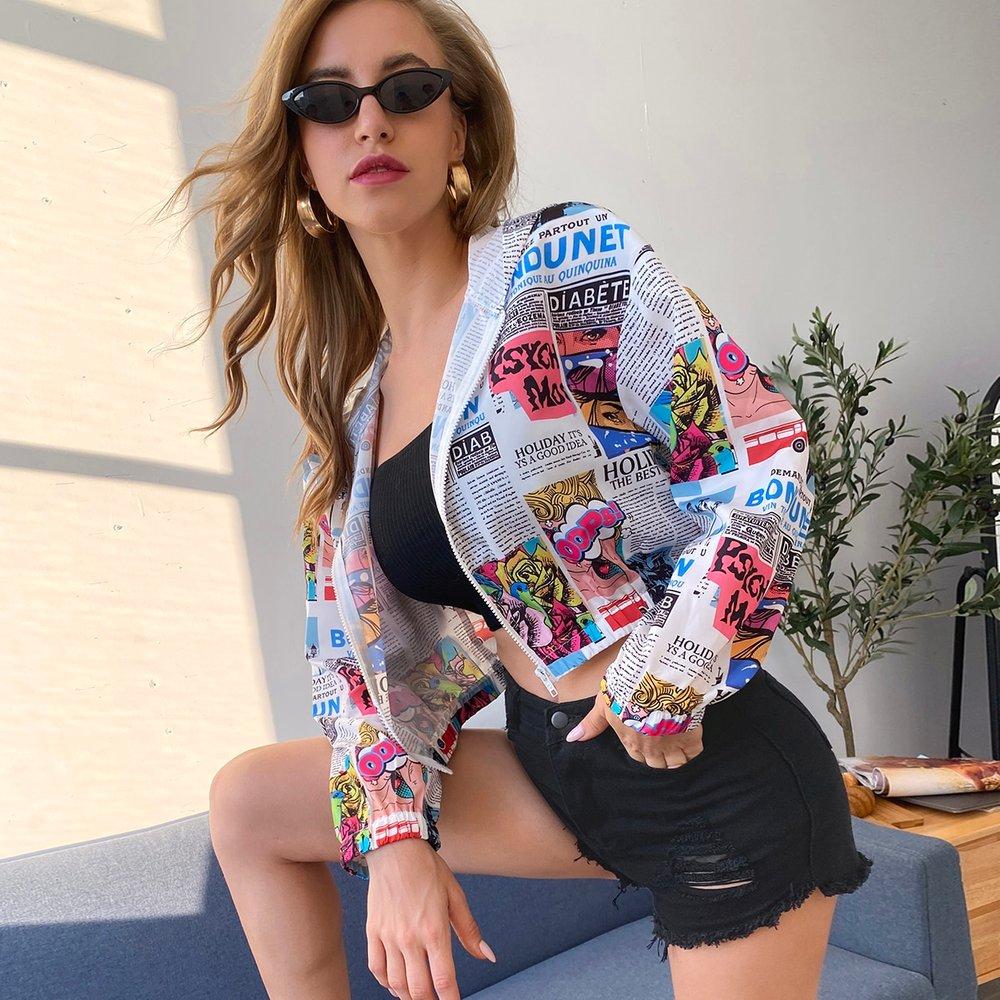 Veste à capuche coupe-vent à imprimé avec zip - SHEIN - Modalova
