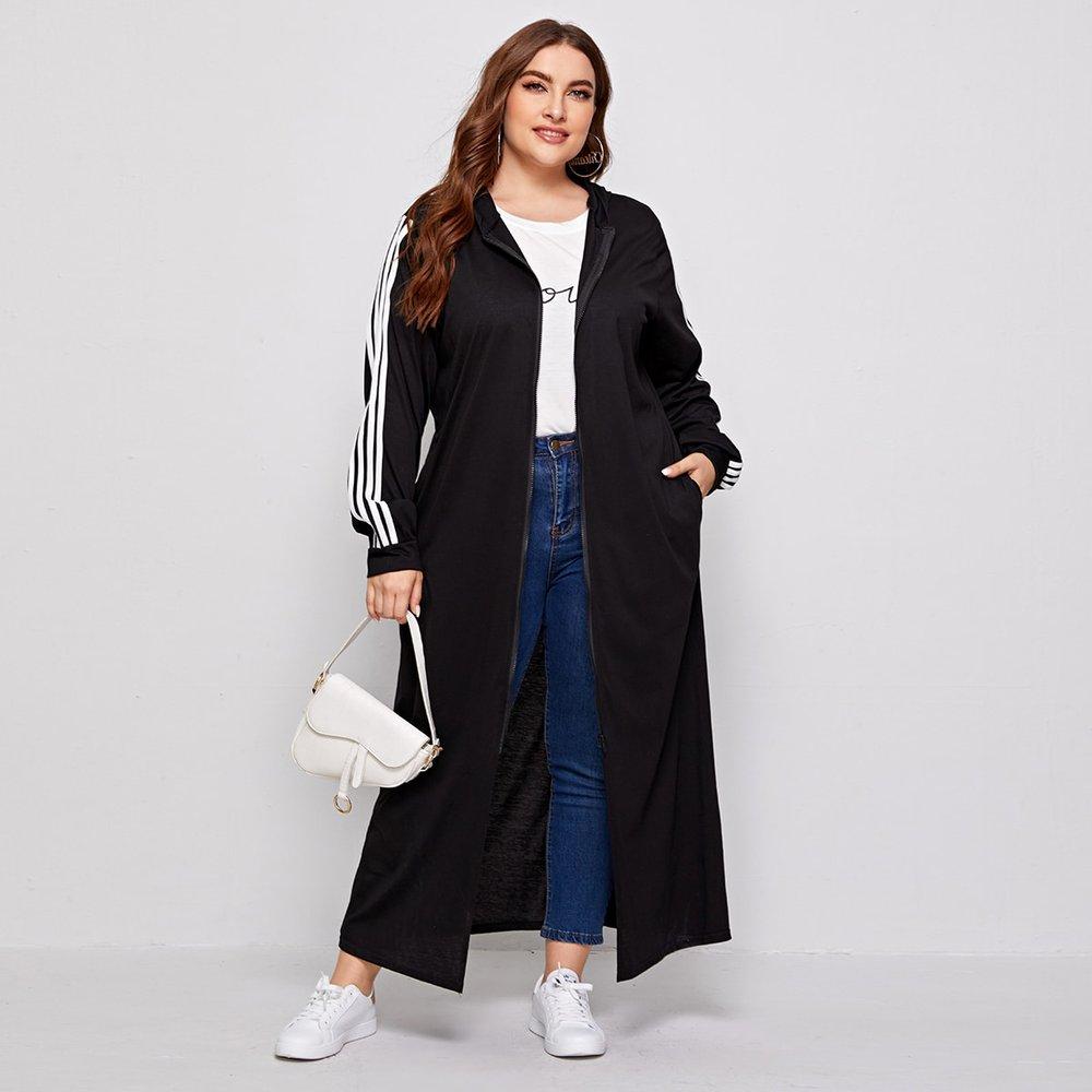 Manteau long à capuche avec rayures et zip - SHEIN - Modalova